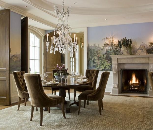 别墅餐厅壁炉背景墙欧式风格装修效果图