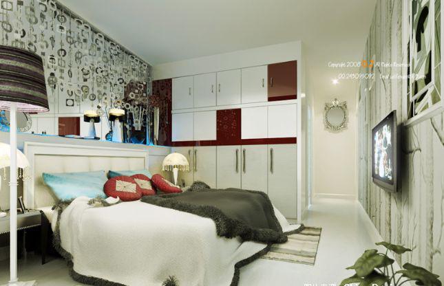 卧室装修 家装效果图254   白色系阳台小孩卧室效果图   浅