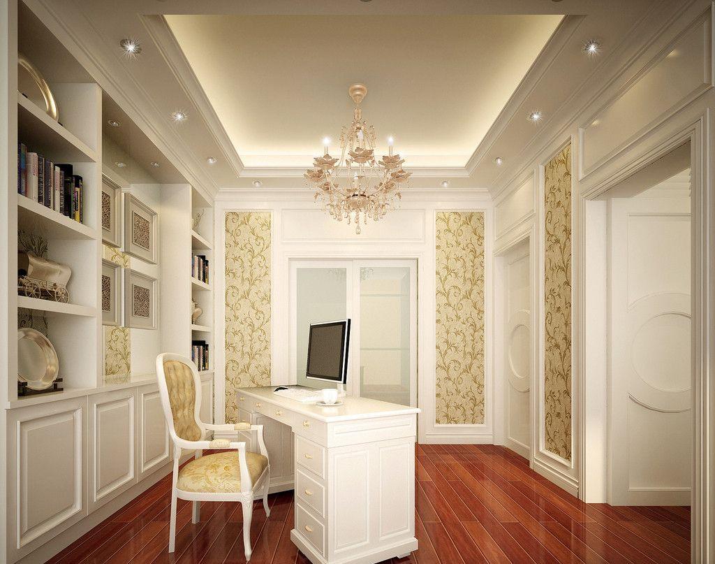 现代欧式三室书房装修效果图
