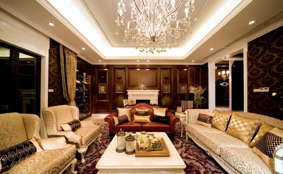 美式豪华客厅装修效果图