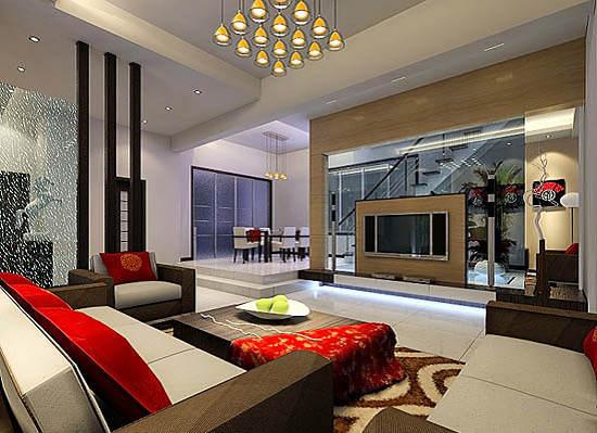 豪华客厅镂空电视墙设计效果图