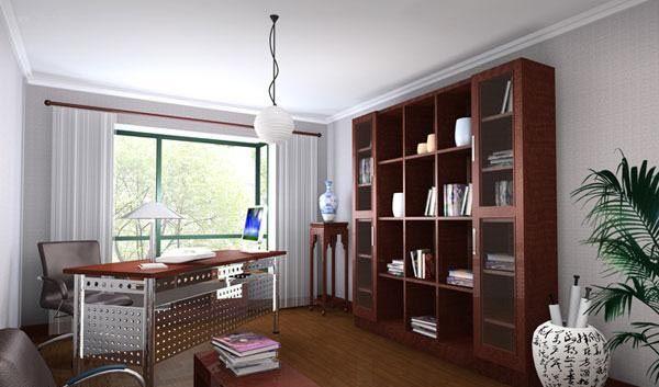 新中式书房简单设计效果图