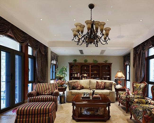 古典欧式别墅客厅装修案例