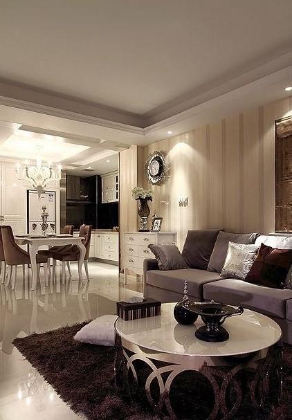 简欧式风格客厅不锈钢茶几图片