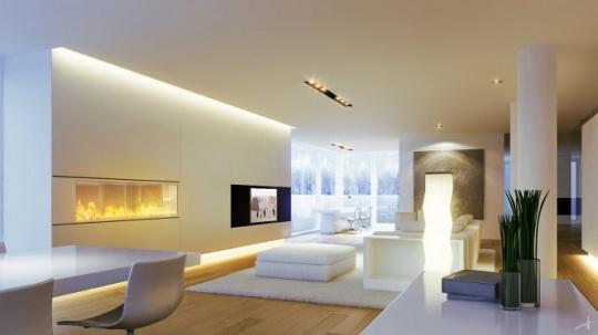 现代风格客厅纯白设计效果图