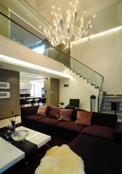 2014欧式复式楼客厅装修效果图