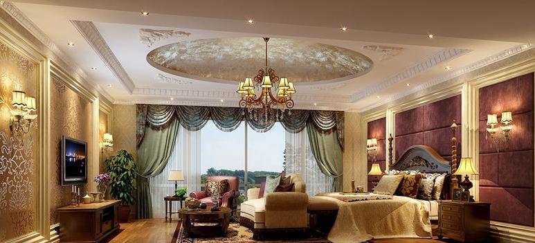 豪华欧式别墅客厅吊顶装修案例