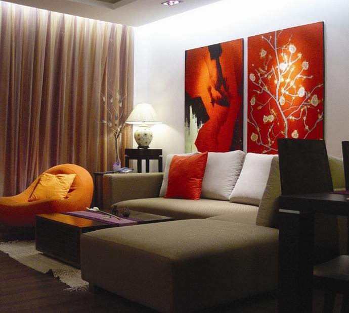 现代一室装修客厅效果图2014