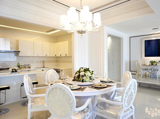 简欧式风格餐厅厨房一体装修效果图