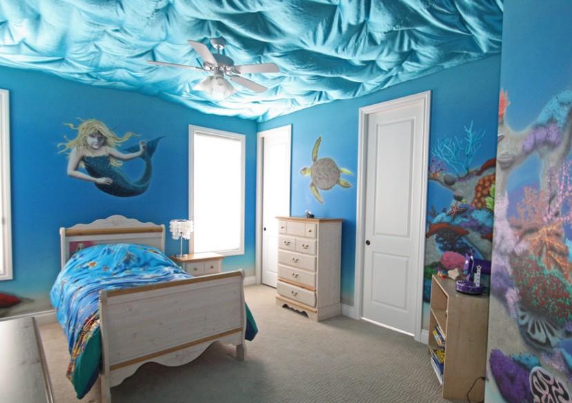 海洋儿童房创意吊顶装修效果图片