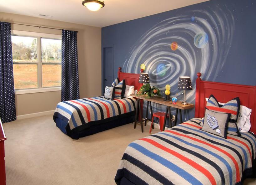 大男孩卧室装修效果图-男儿童房间装修效果图-儿童房男孩卧室图片