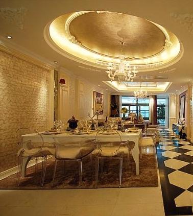 简欧式三居室装修餐厅吊顶效果图图片