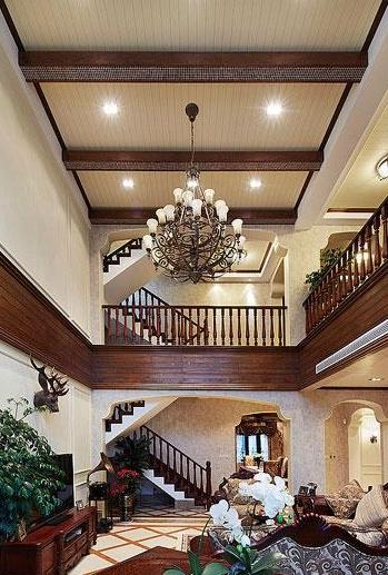古典欧式别墅客厅吊顶装修效果图 粉色系儿童房欧式家装效