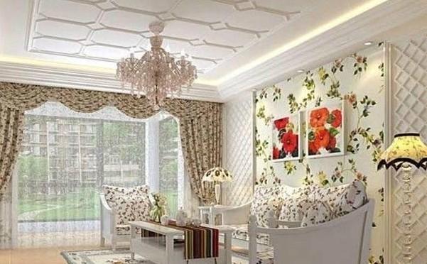 韩式风格一居室装修客厅吊顶效果图