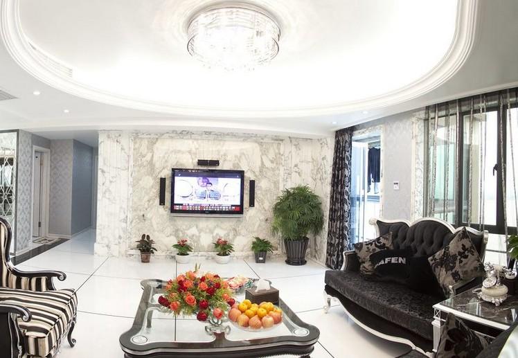 欧式大户型装修客厅豪华吊顶效果图