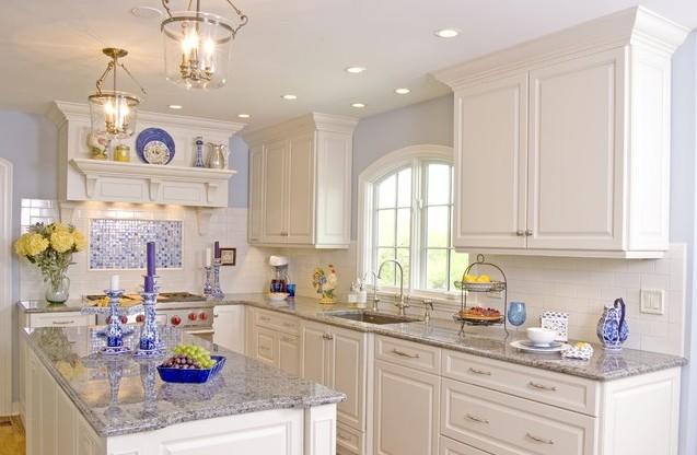 美式白色厨房橱柜颜色效果图 简约中式风格 10个小青花的