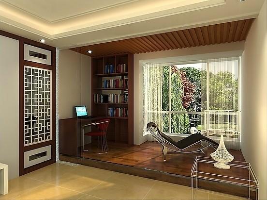 别墅书房门窗设计新中式装修效果图