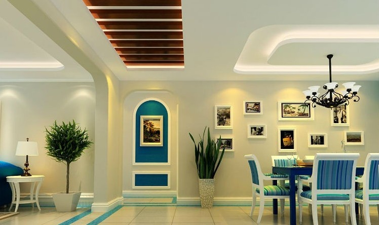 三居室玄关走廊吊顶地中海风格家装 地中海风格装修效果高清图片
