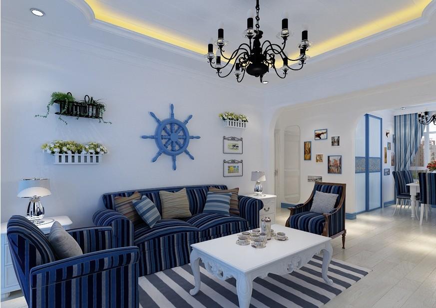小户型地中海风格客厅沙发墙家装效果图
