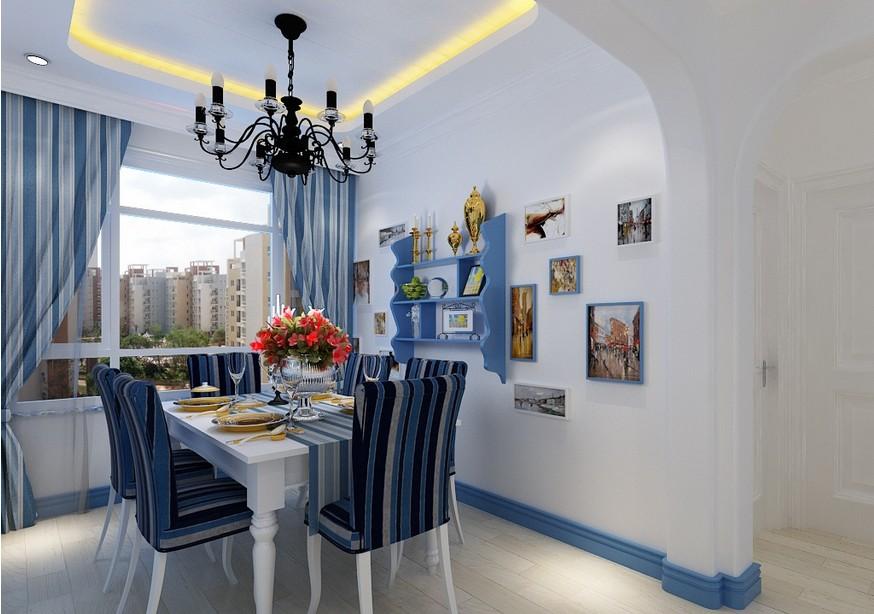 餐厅照片墙地中海风格装修案例欣赏