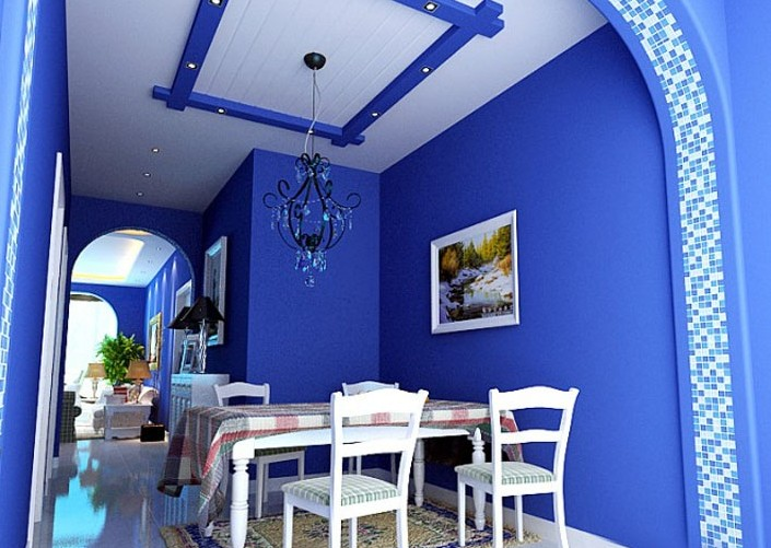 蓝色系地中海风格餐厅装修欣赏2014