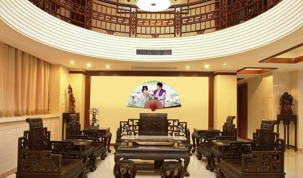 新中式风格复式楼装修客厅吊顶效果图