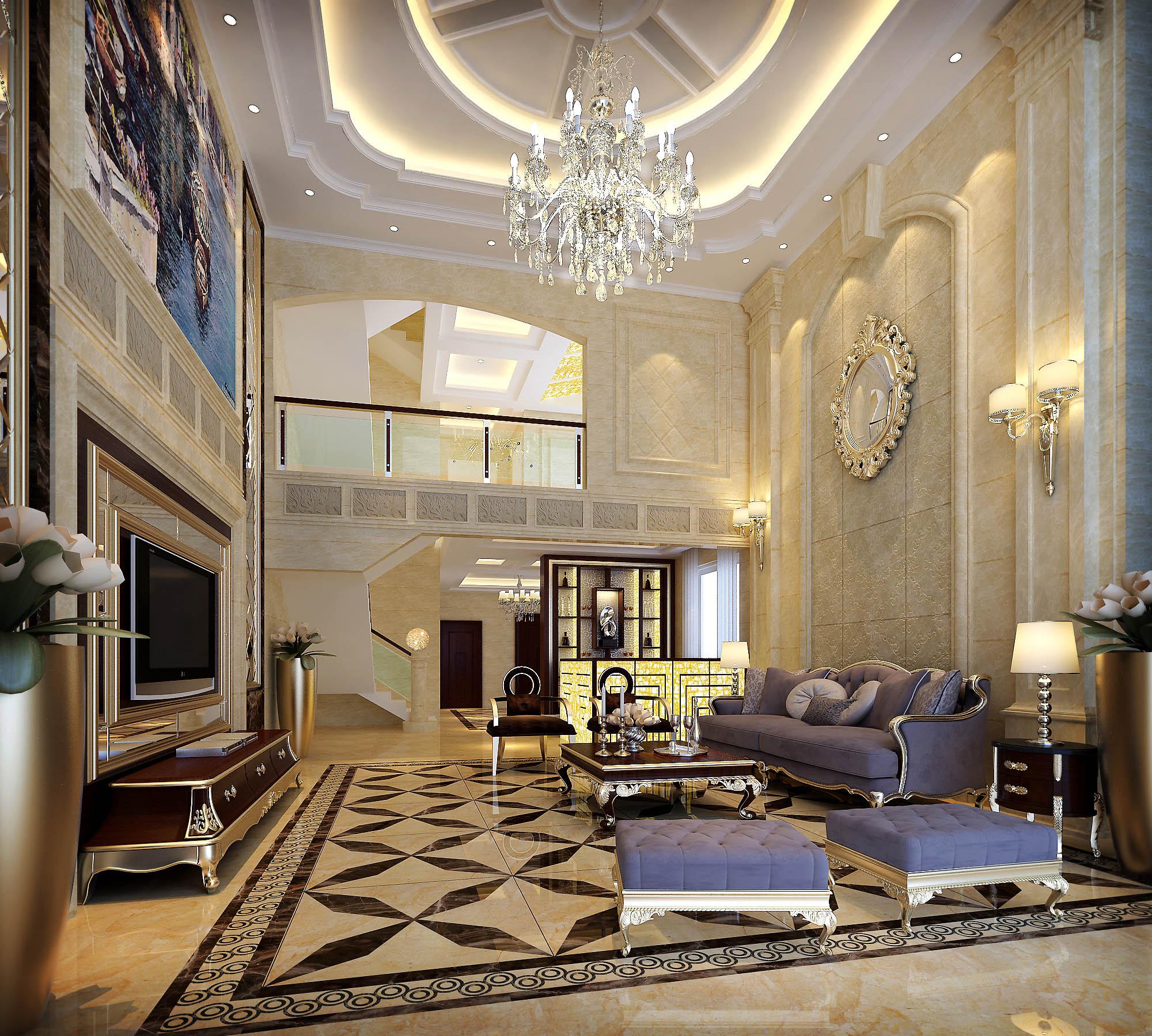 别墅欧式豪华客厅装修效果图图片