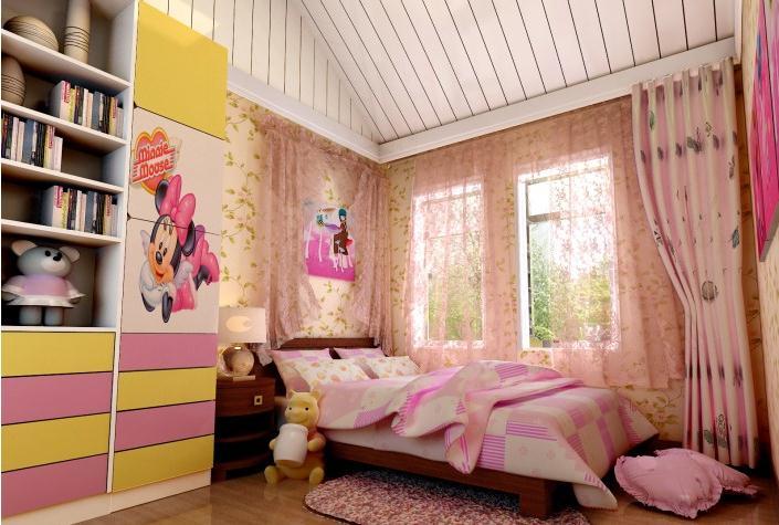 大户型双胞胎姐妹欧式儿童房装修效果图