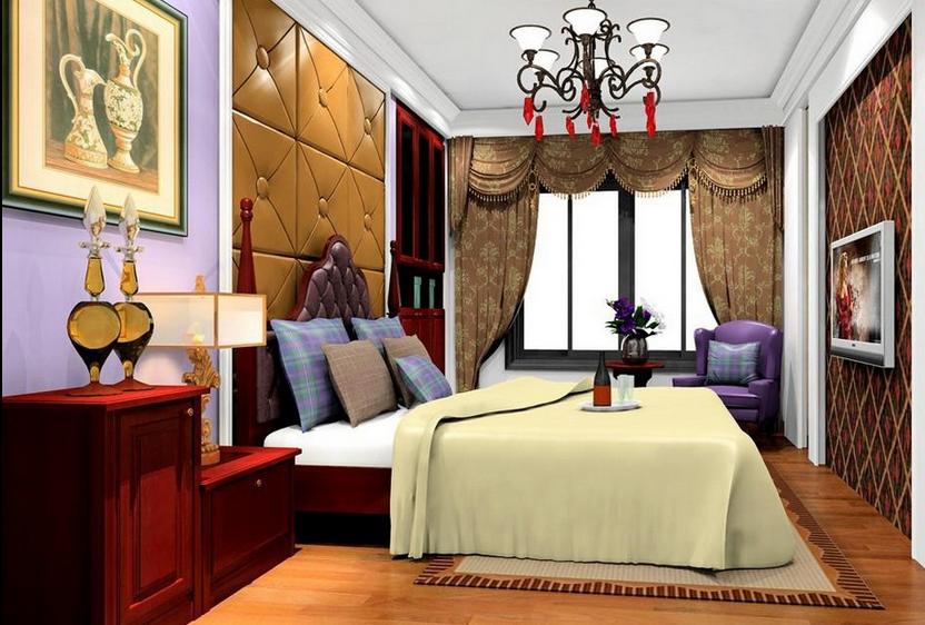 拓者设计吧新中式卧室效果图