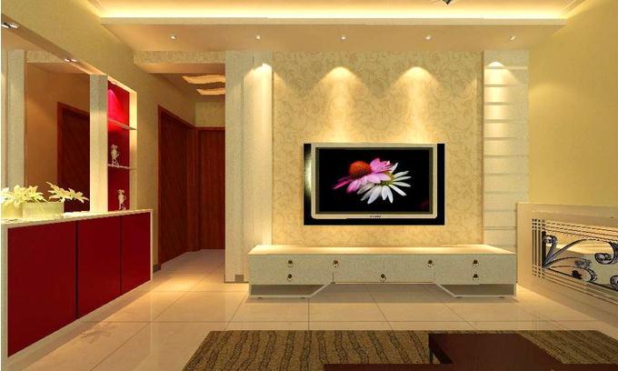 混搭美式中户型客厅实景图电视墙