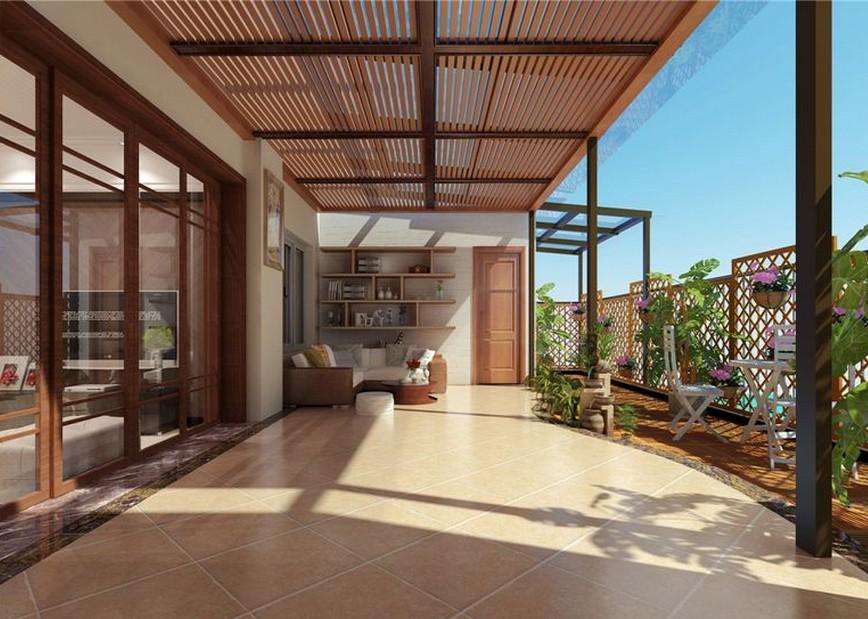 别墅阳台效果图 私家阳台设计风格