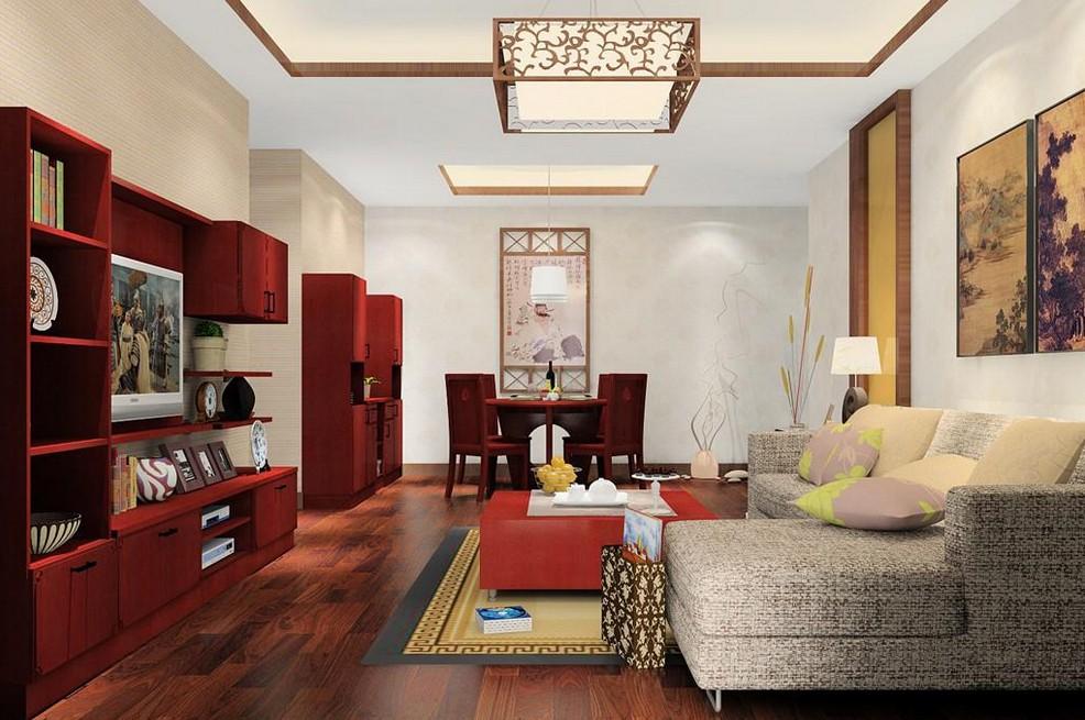 复式中式客厅效果图