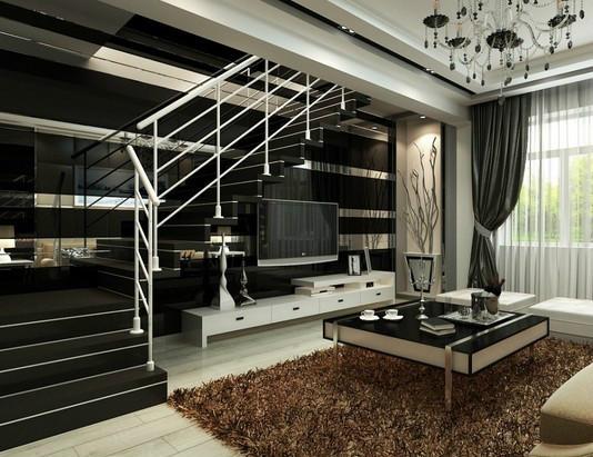 中式卧室复式房子 装修效果 图