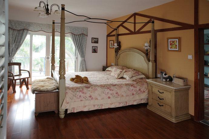 欧式田园卧室背景墙装修效果图