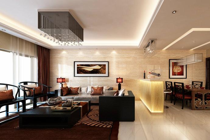 新中式风格别墅客厅装修效果图2014图片
