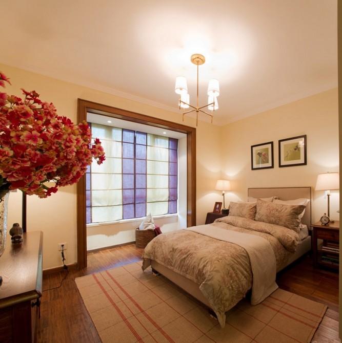 美式鄉村風格三居室臥室裝修效果圖