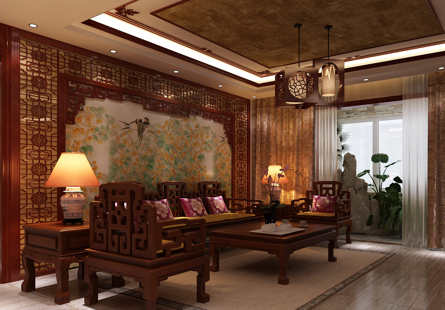 中式家庭客廳設計圖片欣賞