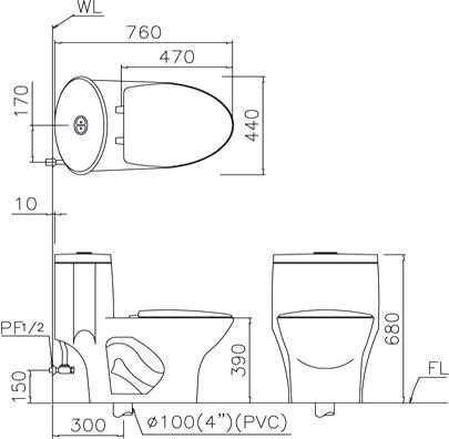 坐便式马桶水箱结构图