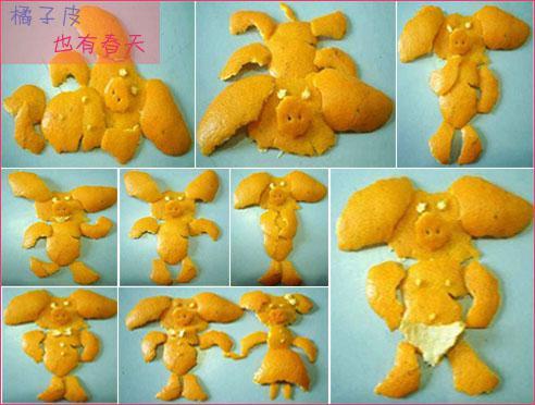 橘子皮幼儿手工制作图片欣赏