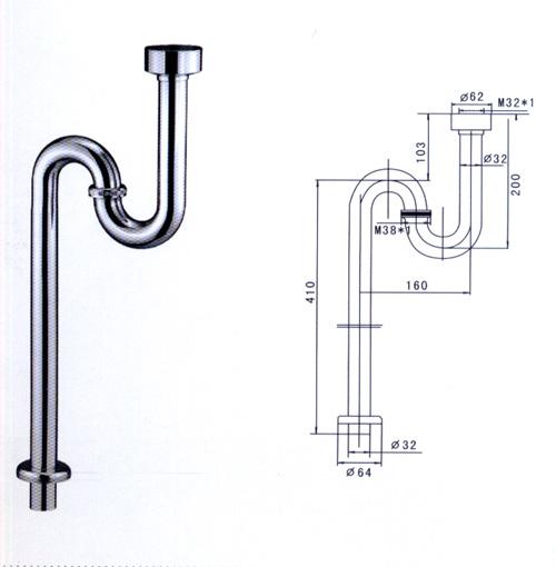 马桶下水管尺寸,一般有300mm