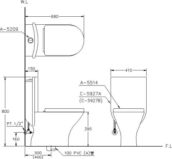 马桶的管孔高度要与排污管管孔高度相符(指离地面