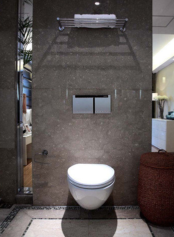 马桶设计可以把难看的排水管道,座便器水箱等隐藏在墙体内,让卫生间