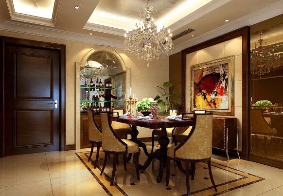 三、美式装修风格样板房的设计要点 1、简洁。因为风格相对简洁,细节处理便显得尤为重要。美式家具一般采用胡桃木和枫木,为了突出木质本身的特点,它纹理本身成为一种装饰。可以在不同角度下产生不同的光感。这使美式家具比金光闪耀的欧式家具更耐看。 2、单色。美式家具的油漆多半以单一色为主,而欧式或新古典家具大多会加上金色或其他色彩的装饰条。至于在装饰上,美式家具仍会延续欧洲家具的风铃草,麦束等图案装饰,但也可以加入美国特有的图形,如鹰形图案等,并常用镶嵌的装饰手法,饰以油漆或浅浮雕刻。 3、实用。美式家具的另一个重