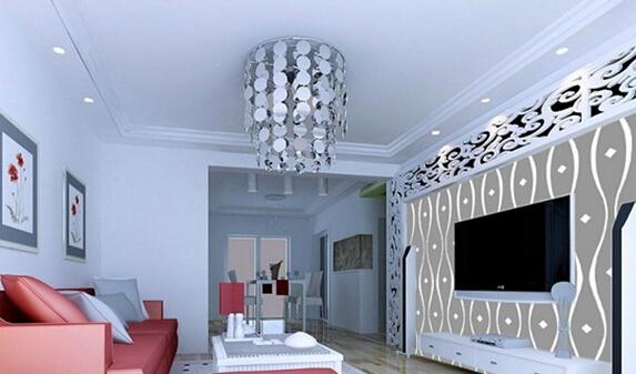 这一款硅藻泥电视背景墙效果图属于现代风格装饰,电视墙面的色彩