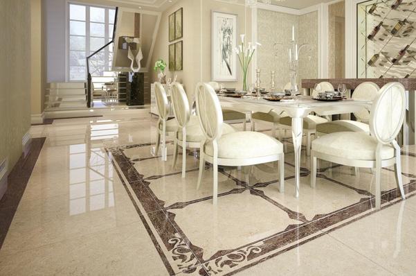 3、卫浴间:湿气较大,地面瓷砖要采用防滑质地的。一般亚光面或浅凸凹造型的地砖比较适合浴后湿滑的地面,最好是遇水发腻的瓷砖。墙面通常选择比较容易清洁的釉面砖。光面且反光性强的瓷砖不适合用于卫浴间,刺眼光线让人不够放松。卫浴间地面常用的规格有300*300mm和330*330mm的,墙面适合选用较小的瓷砖,或长方形,或不规则,马赛克瓷砖。