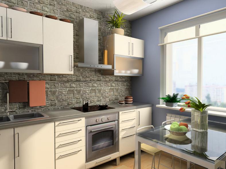 4、玻璃材质 采用玻璃,展示效果强,不会让人感到压抑。在小户型的设计过程中,首选材料是玻璃,特别是吊柜中玻璃边框的运用,非常有现代感。选择视觉冲击感较强的金属材料和亲和力强的颜色。细心的人会发现,设计师较少设计颜色较暗的吊柜。整体厨房的色彩,应以单色调、浅色系为主,橱柜不宜使用黑色、深棕色等较暗的颜色,白色、浅灰色或明亮的奶黄色、浅蓝色等都是不错的选择。 5、厨房吊顶 厨房的吊顶一定要采用防水的铝扣板安装这样可以避免吊顶变的潮湿。厨房中尽量不要有夹缝。将吊柜直接接到天花板,因天花容易凝聚水蒸气或油烟。吊顶